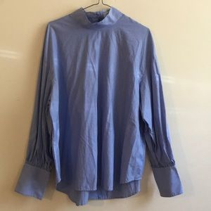 Aritzia Babaton Striped Blouson Sleeve Shirt